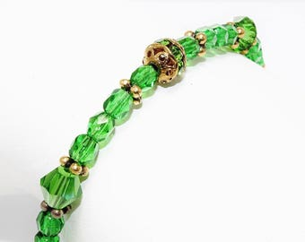 Green Glass Crystal Bracelet and Earring Set with Antique Gold Crystal Rounds