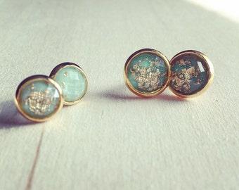 Gold leaf stud earrings, gold stud earrings, gold speck earrings, turquoise stud earrings, boho jewelry