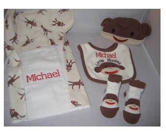 Embroidered Sock Monkey Set - 4 Piece Set - Burp Cloth - Hat - Bib - Booties