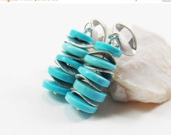 HOLIDAY SALE Sleeping Beauty Turquoise Gemstone . Sterling Silver Stacked Dangle Earrings . Robins Egg Aqua Blue . Bright Brushed Silver . E