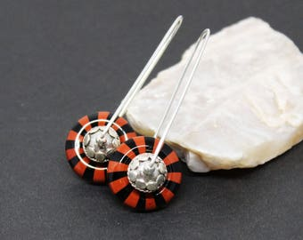 Obsidian and Red River Jasper Gemstones . Sterling Silver Dangle Drop Earrings . Black, Rust Red . E17054
