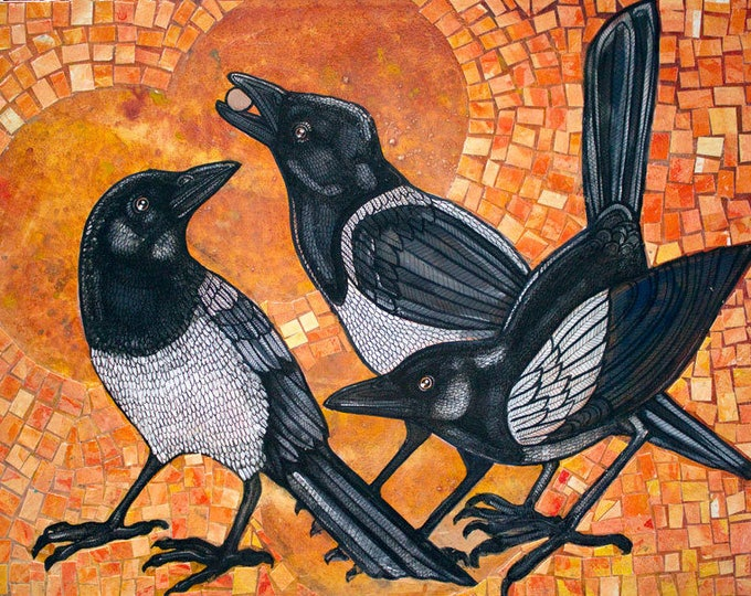Featured listing image: Three Magpies Original Artwork by Lynnette Shelley