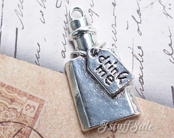 Alice in Wonderland theme drink me bottle shaped charms - Antique Silver color