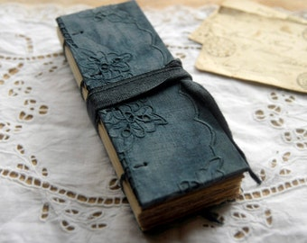 Indigo Dreaming - Vintage Embroidered Linen Journal, Hand Dyed, Tea Stained Pages, OOAK
