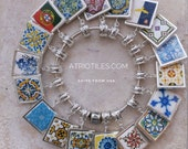 """Portugal Antique Azulejo Tile SILVER Plated Pendant for EUROPEAN """"PAN.."""" Brand Bracelet - Coimbra  Azores - Choose One - Gift Box"""