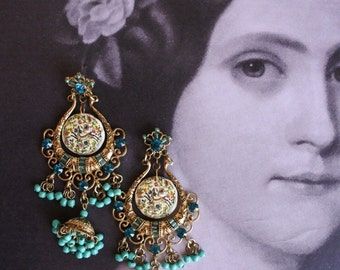 Chandelier Earrings COIMBRA Portugal 17th Century Pottery with Whimsical DeeR Bohemian Tribal Gypsy Featured in GRAZIA Magazine