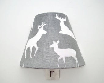 Woodland Deer Night Light -Elk Nightlight - Grey Nursery Night Light - Nursery Decor - Boys Grey Bedroom Light - Baby Room Night Light