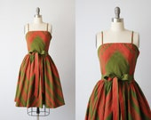 Vintage 1950s Sundress Dress / 50s Dress / Cotton Dress / Gathered Skirt / Chevron