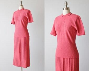 1940s Knit Dress / 40s Sweater Dress Set /  Knit Sweater Dress / Coral Pink