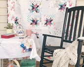 Scrapping Stars Quilt, Large Throw Size, summery and light, READY TO SHIP