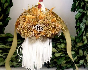Rooster Tassel in Gold and Sage