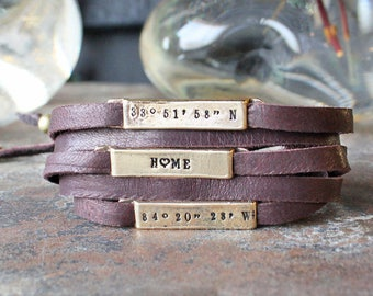 Leather Wrap Bracelet, Personalized Gold Bronze and Leather Wrapped Bracelet with Stamped Sliding Plates
