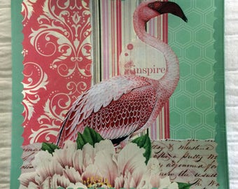"Decoupage Glass Tray ""Pink Flamingo 2"""
