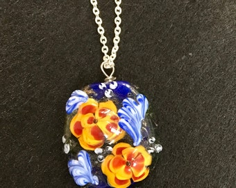 Flowers glass lampwork focal bead pendant with free chain gift ooak