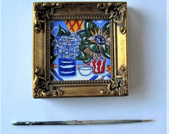 "Original framed acrylic still life painting, mini art, gold frame, French Country Decor, Hydrangeas and Sunflowers, 4"" x 4"", gift idea"