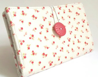Tampon and Pad Holder in Pastel Pink Red Rosettes Print Handmade Privacy Wallet - Tiny Roses