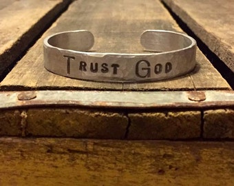 Trust God Stamped Adjustable Cuff Bracelet