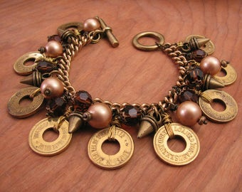 Coin Jewelry - Vintage Brass Amusement Token, Bronze Pearl, Smokey Topaz Crystal & Spike Charm Bracelet - Rustic, Brown/Gold Toggle Bracelet