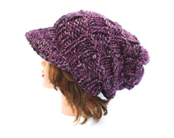 Knit Newsboy Cap in Berries - Brimmed Beanie - Slouchy Hat with Visor - Women's Newsboy Hat - Chunky Cap - Knit Accessories