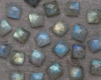 8mm  - Brilliant Square Rose Cut Labradorite Cabochons Gemstones Jewelry Blue Gold Aqua Green