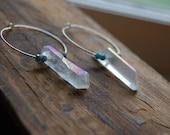 Clear Aura Quartz Crystal Gemstone Point Hoop Earrings. Aura Crystal Quartz Point Gold Hoop Earrings.