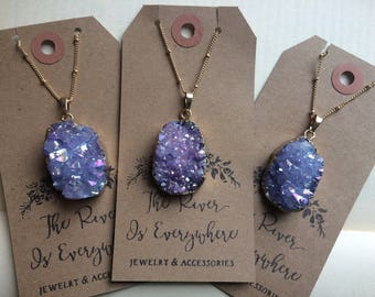 Gold Plated Galaxy Purple Quartz Titanium Druzy Geode Stone Necklace with Gold Satellite Ball Chain. Galaxy Purple Blue Long Druzy Necklace
