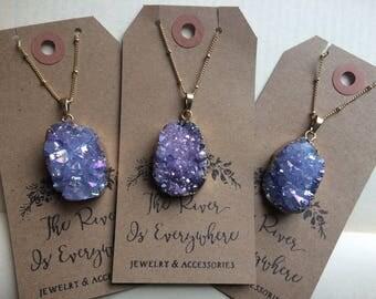 Gold Plated Galaxy Purple Quartz Titanium Druzy Geode Stone Necklace with Gold Satellite Ball Chain. Galaxy Purple Blue Long Druzy Necklace