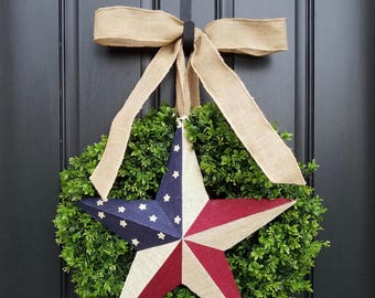 BOXWOOD WREATHS, July 4th Door Wreaths, SUMMER Boxwood Wreath, Patriotic Wreaths, Red, White and Blue Decor, Fourth of July Decor