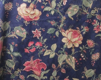Decorator Fabric 2-6yd Floral Waverly Jacobean Home Decor Fabric Navy Blue Pillow Covers Totes Waverly Montague Flowers BTY