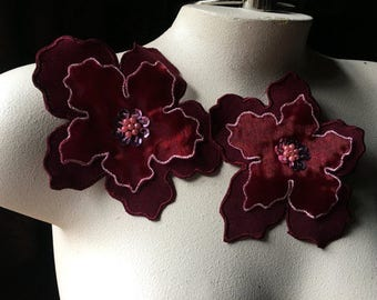 2 Burgundy Applique Flowers for Lyrical Dance, Garments,  Costume Design CA 802br