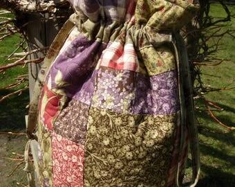 Lilac Hill Drawstring Tote , Purse, Knitting Bag, Baby Bag,Travel Bag
