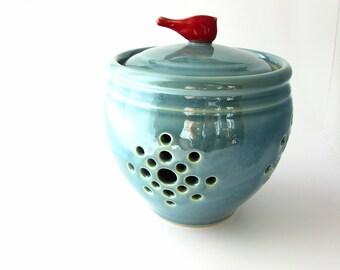 Made to Order:  Little Birdie Garlic Keeper // Garlic Jar in Robins Egg Blue with a Red Bird