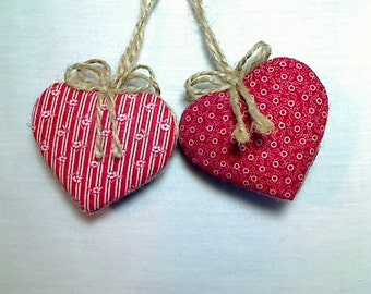 Red Heart Ornaments | Holidays | Heart Decoration | Valentine's Day | Wedding/Bridal | Party Favors | Handmade | Tree Ornament | Set/2 | #1