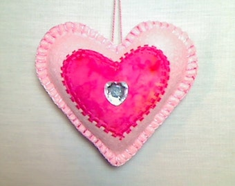 Pink Felt Heart Ornament | Holidays | Party Favor | Valentine's Day | Bridal/Wedding | Victorian Decor | Bowl Filler | Tree Ornament |    #1