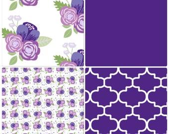 Baby Girl Crib Bedding Set Purple Lavender Floral Made to Order