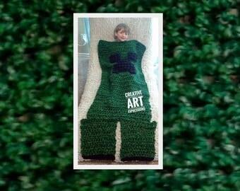 MOB Gamer Blanket, Child Blanket, Crocheted MOB Blanket, Green, Gamer Blanket, Ready To Ship, Boy Gifts, Gamer Gifts,Wearable Blanket