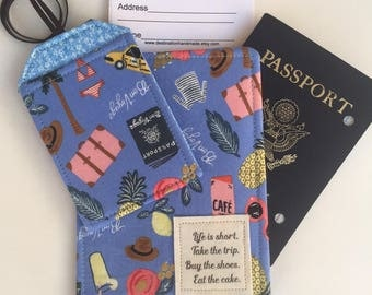 Passport Cover, Passport Wallet, Passport Holder Life is Short, Take the Trip, Eat the Cake, on Rifle Paper Fabric