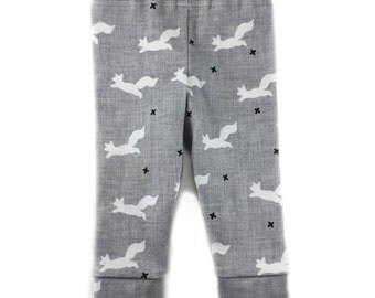 Baby Boy Leggings, Boy Coming Home Clothes, Fox Print Newborn Boy Pants, Fox Baby Shower Gift, Infant Boy Clothing, Gray Boy Pants