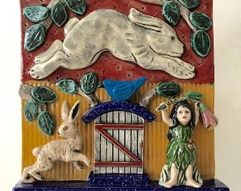 Ceramic Art Tile, Accent tile,  Home Decor, Ceramic Wall Art, Fairy Tale