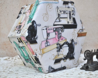 Sewing Box Hexagonal Hand Made - Fabric Covered Cartonnage - Vintage Sewing Machines - Sewing Gift - Needlework Gift