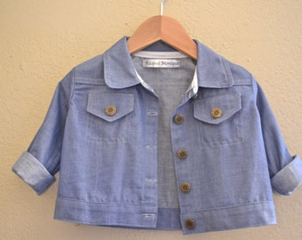 SALE! Handmade Little Jean Jacket in Light Blue Denim Chambray Cotton Girl Children Clothing One-of-a-Kind Easter Natural Fiber Metal Button