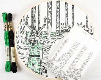 COMING HOME embroidery kit - hand embroidery kit by StudioMME, embroidery hoop art, embroidery pattern, antlered girl, forest deer