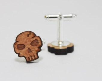 Skull Cufflinks ~ Cherry Wood Punisher Gift Groom Wedding Accessories Cuff Links Suit Tie