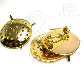 clearance -50% / H106 / 6sets / Diameter 20mm *0.787inch - Brooch Pin with Multi Holes Base Plate Findings.