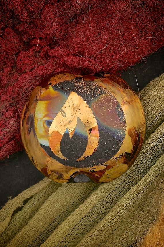 "SRA Lampwork Beads ""Home Light"" Handmade Sandblasted Glass Focal Bead Lentil Metallic Lustre"