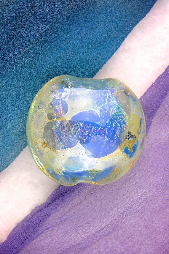 "Lampwork Beads SRA ""Cassiopeia"" Handmade Cool Rainbow Dichroic Glass Focal Bead Lentil Fine Silver Lustre"