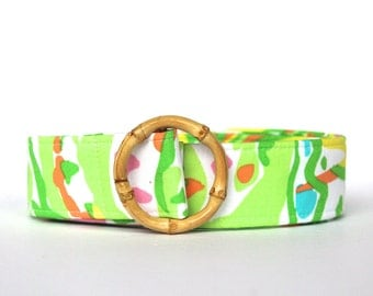 Lilly Pulitzer Elephgant Ears Fabric belt, Preppy Lilly Belts