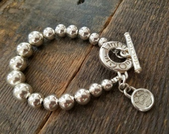 925 Sterling Silver bold beaded bracelet with limited edition doOGle LinHk & Co. heavy toggle