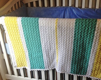 Crocheted Baby Afghan Blanket Stripes in Yellow, White and Green