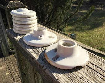 Salvaged White Porcelain Light Parts--Lot of Vintage Ceiling & Wall Fixtures Sockets--Salvage Restoration Lighting--Country Farmhouse Decor